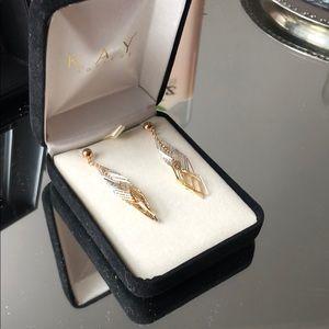 Kay Jewelers Silver & Gold Earrings